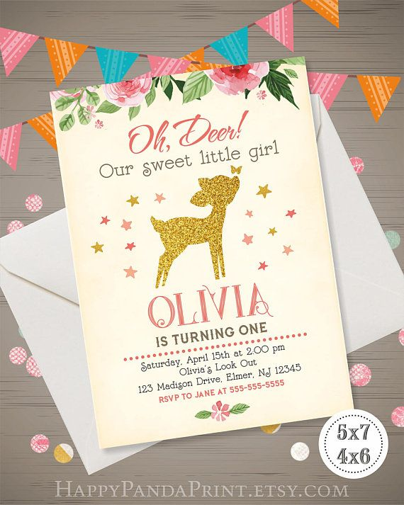 DEER Birthday Invitation GIRL Deer Invitation Woodland Invitation