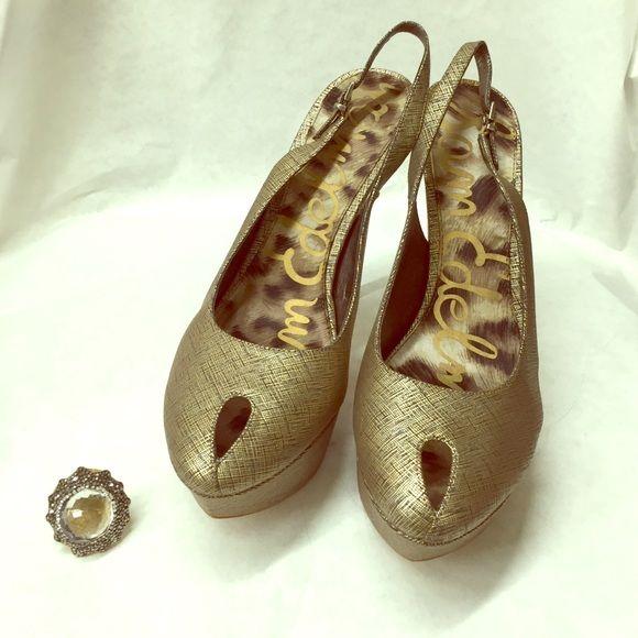 f31963359 Sam Edelman gold and black gorgeous high heels Sam Edelman gold and black  gorgeous high heels brand new 5.5