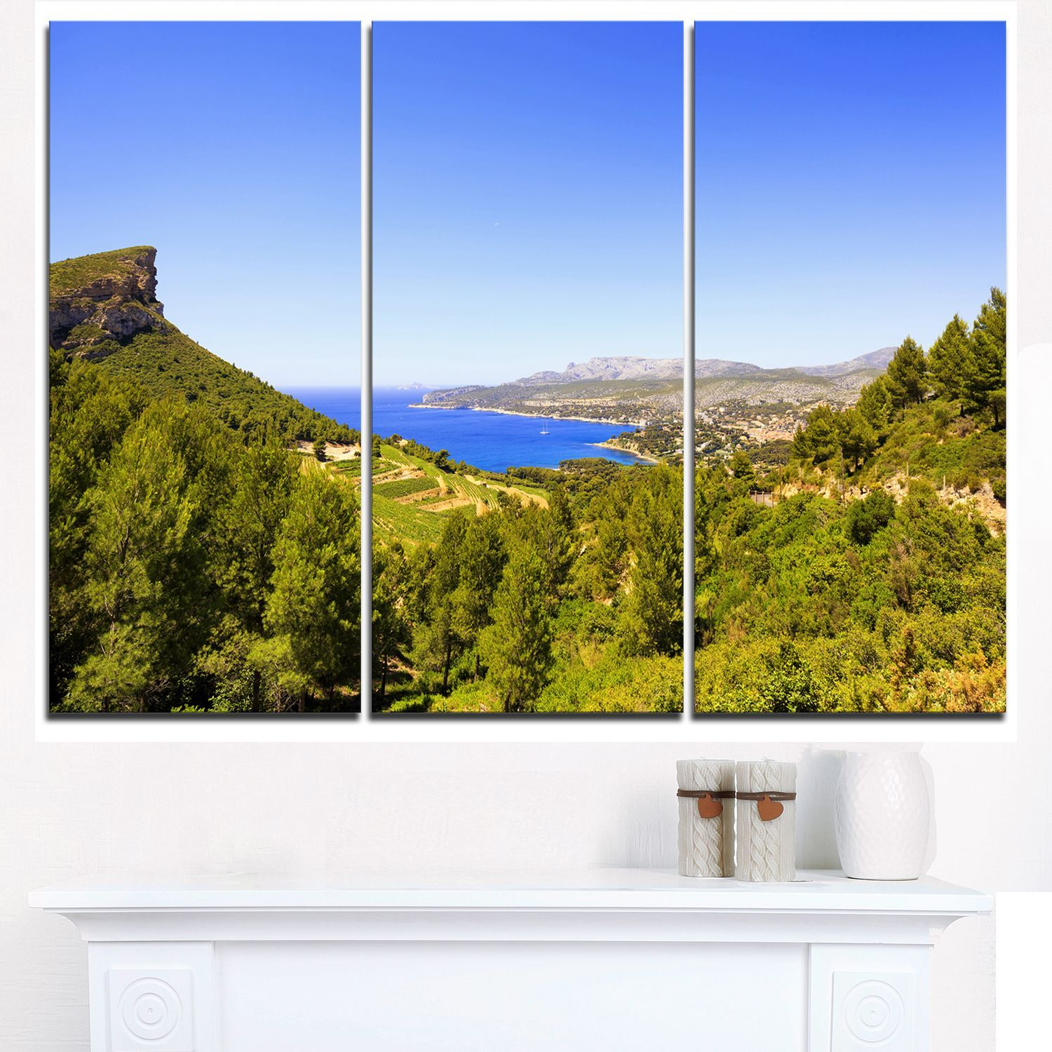 Cassis Bay from Route des Cretes - Oversized Landscape Wall Art ...