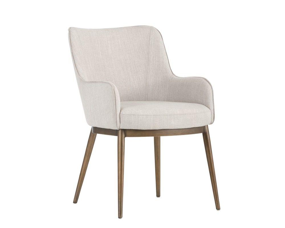 Franklin Dining Chair Antique Brass Beige Linen Fabric
