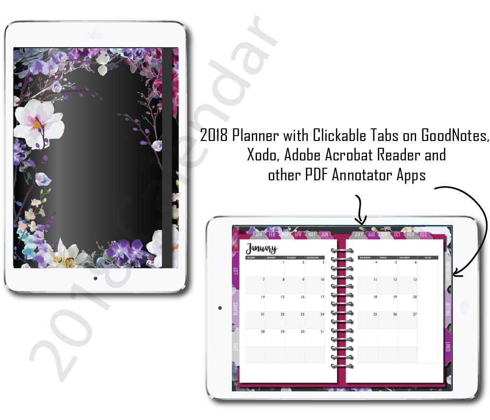 dated 2018 digital planner for goodnote app orchids bullet paper