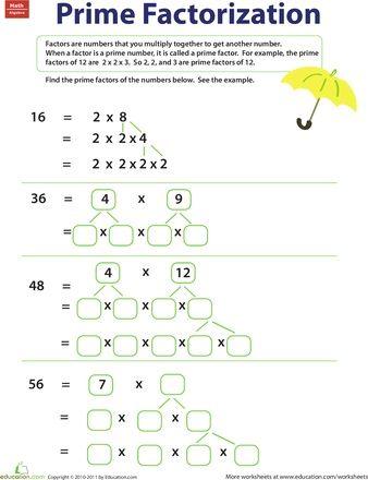 Worksheets: Prime Factorization #teaching | Math | Pinterest ...