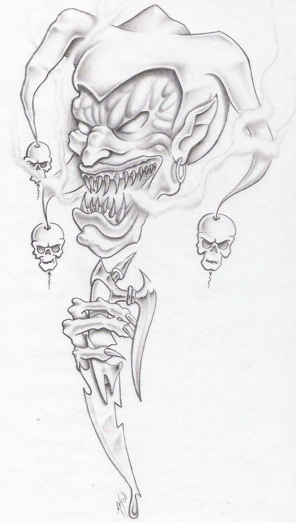evil jester by markfellows on deviantart jesters pinterest rh pinterest co uk Evil Faces Tattoos Evil Tattoo Drawings