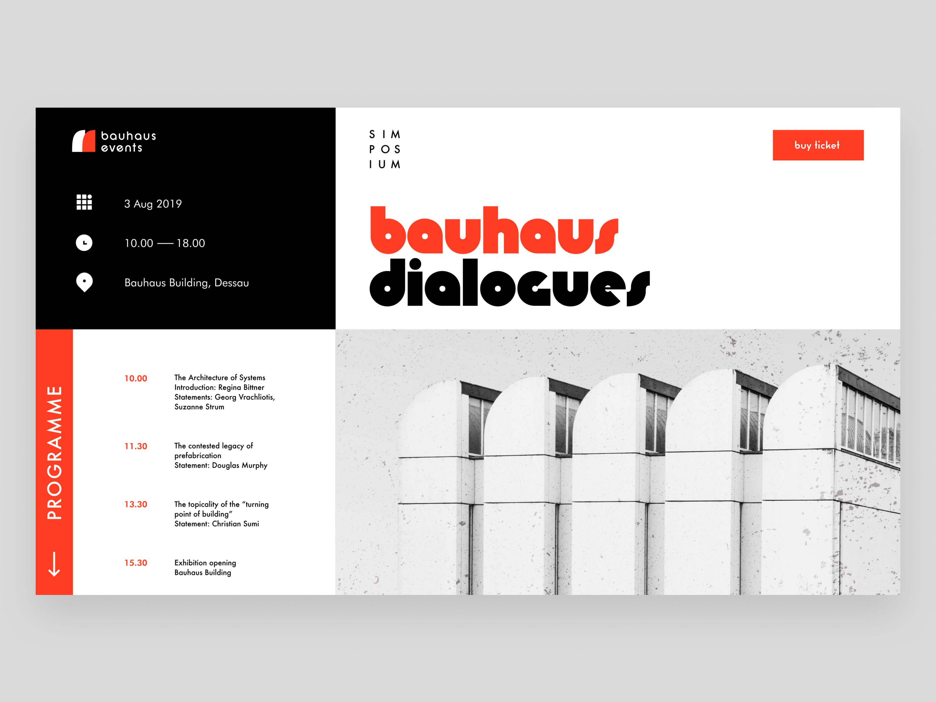 Bauhaus Events Landing Page Web Design Web Layout Design History Design