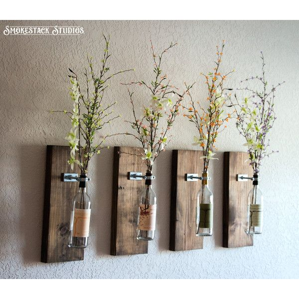 Wine Bottle Wall Decor Wine Bottle Wall Vase Set Of Four $92 ❤ Liked On Polyvore