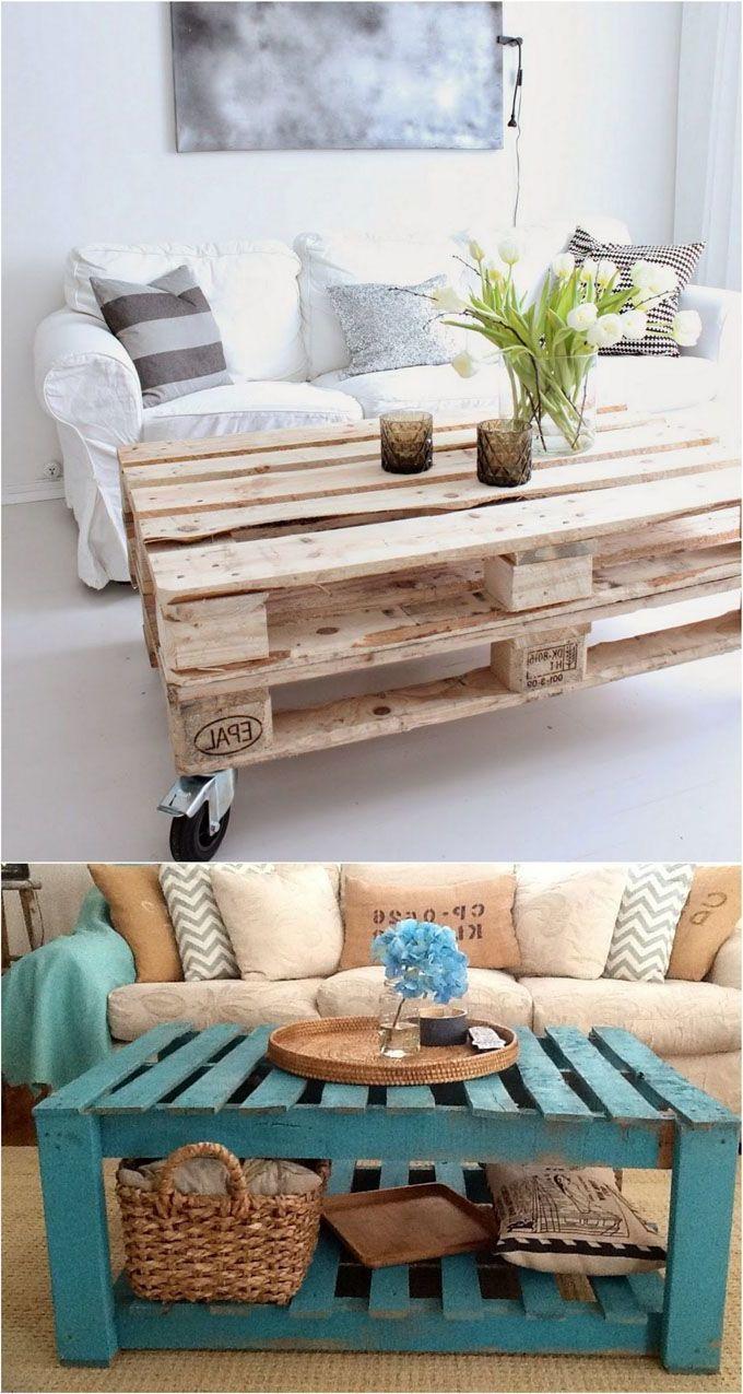 Palettenmöbel Selber Bauen Tisch Aus Paletten Blau Weiß Diy