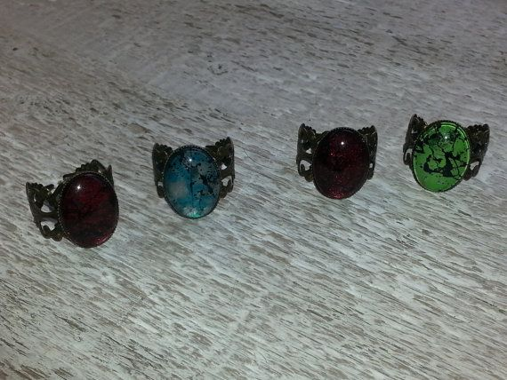 Red Splash Spirit of Dragon Ring with glass door WitchesCreations