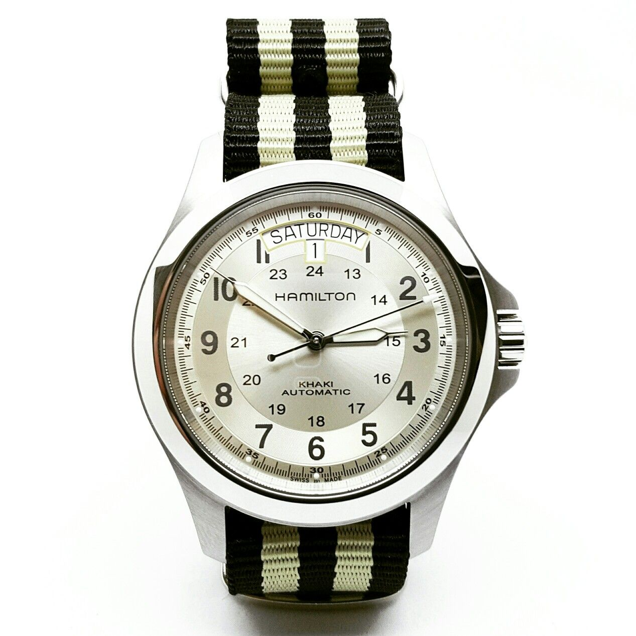 7d0bd487e99 Hamilton khaki king with Black   Gold NATO strap from The Urban Gentleman