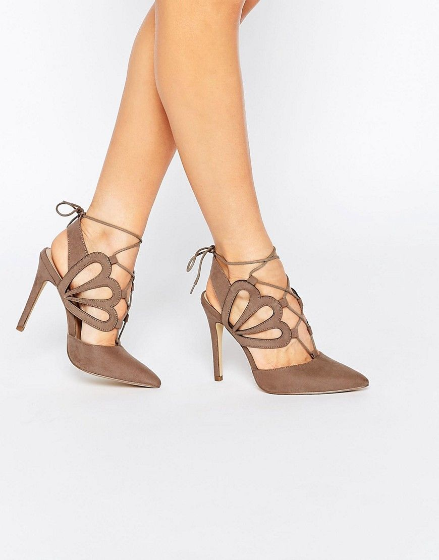 Image 1 of New Look Wide Fit Tie Back Cut Out Heels