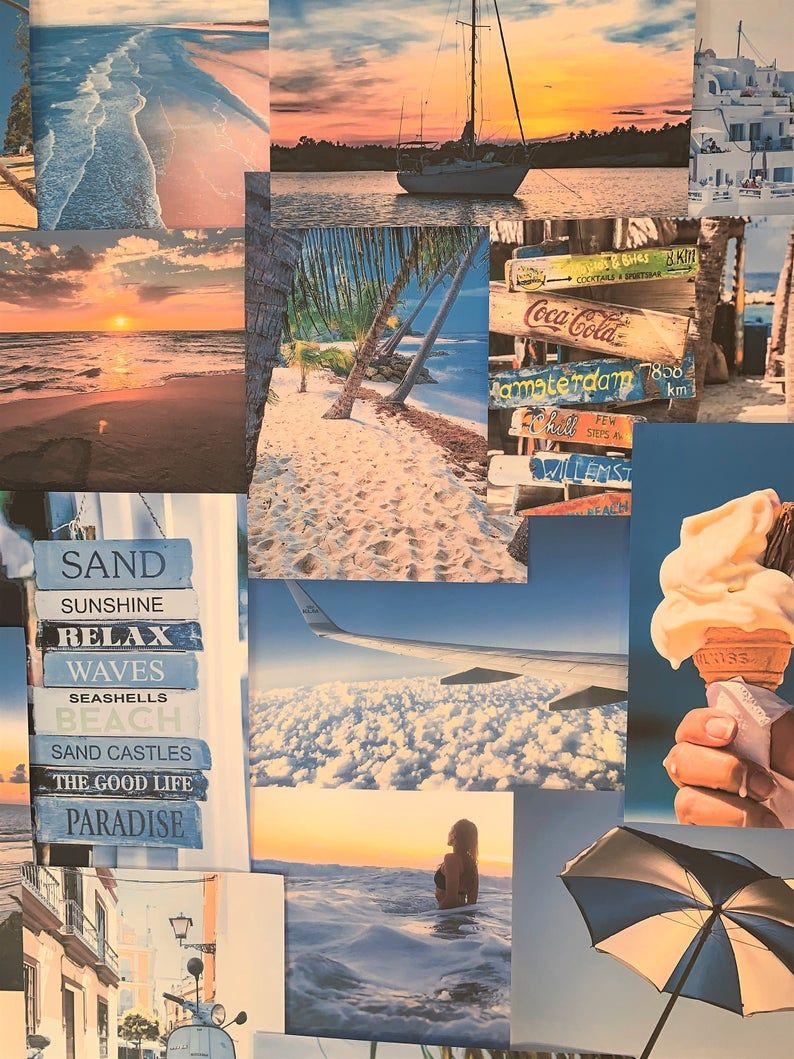 Blue Aesthetic Beach Wall Collage Kit VSCO Retro Vintage Room Decor Large size prints, photos, pictures - Free Delivery