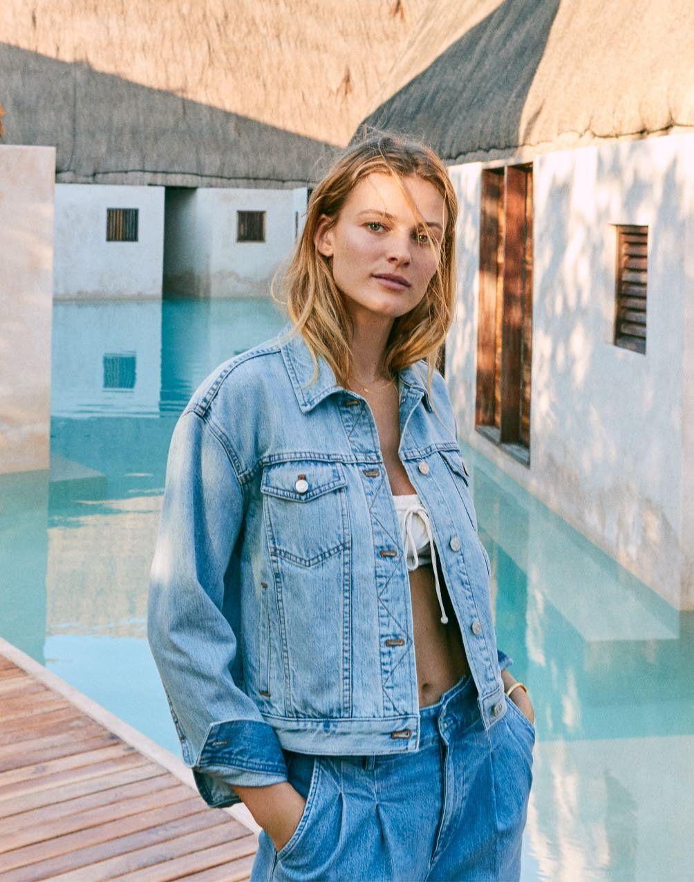 Women S Boxy Crop Jean Jacket In Fitzgerald Wash Crop Jean Jacket Light Wash Denim Jacket Cropped Jeans [ 1276 x 1004 Pixel ]