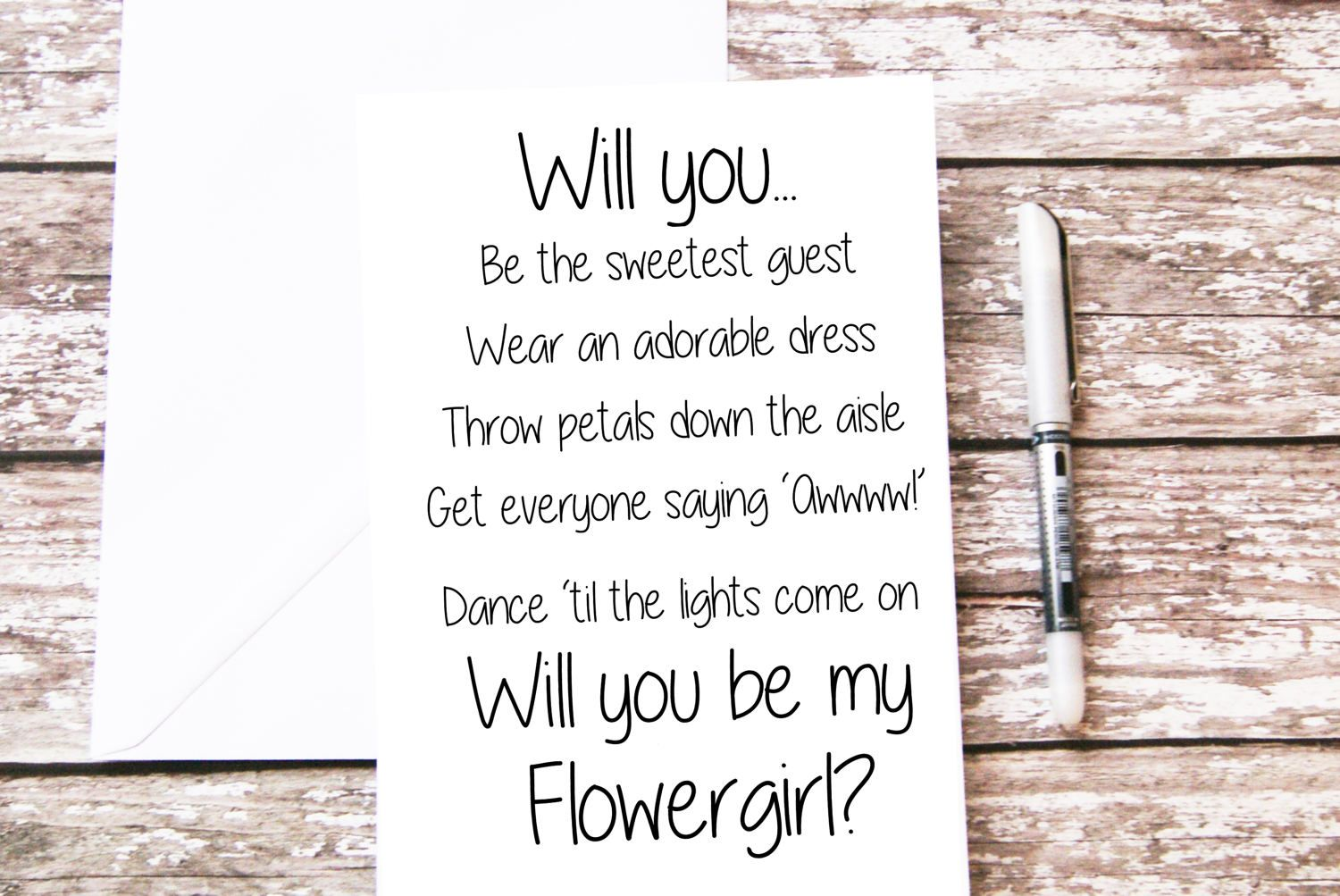 1 folded card Will you be my junior bridesmaid note cards for wedding