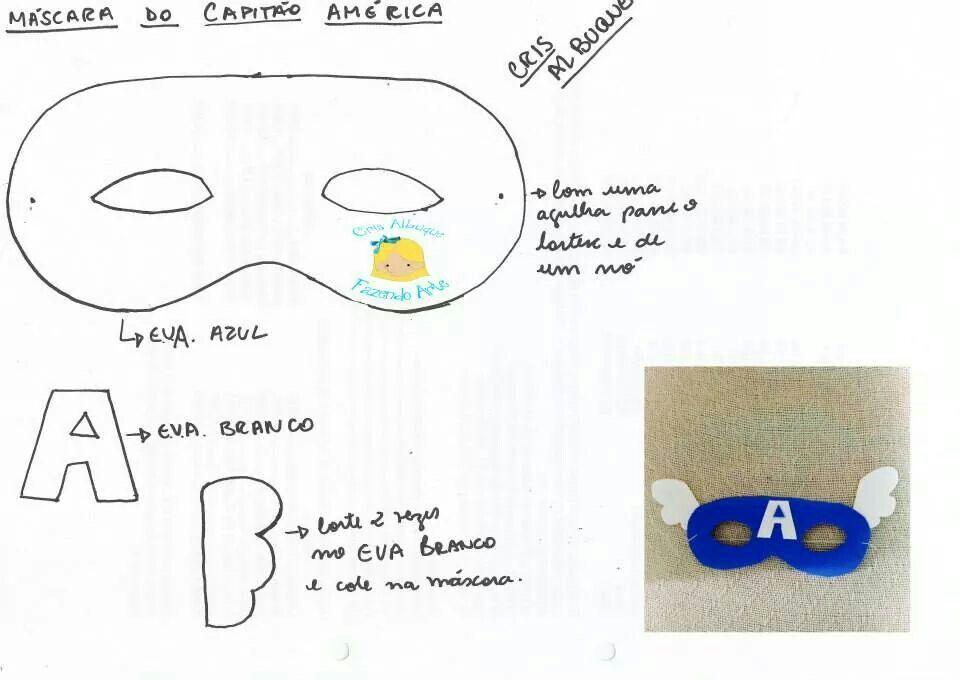 Mascara capitão america | Antifaces | Pinterest | Moldes, Feltro y ...