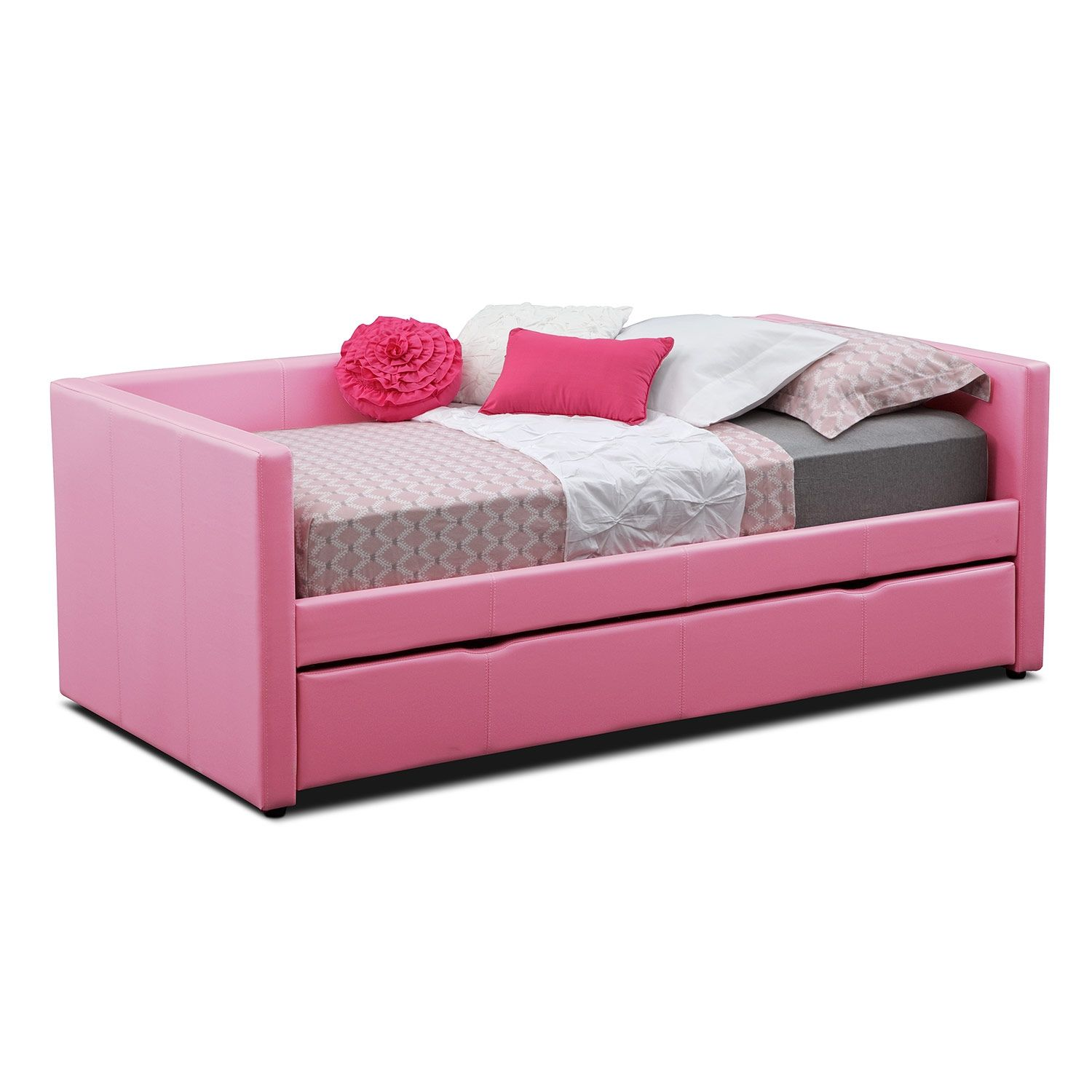 Kids Furniture   Carey Twin Daybed With Trundle   Pink