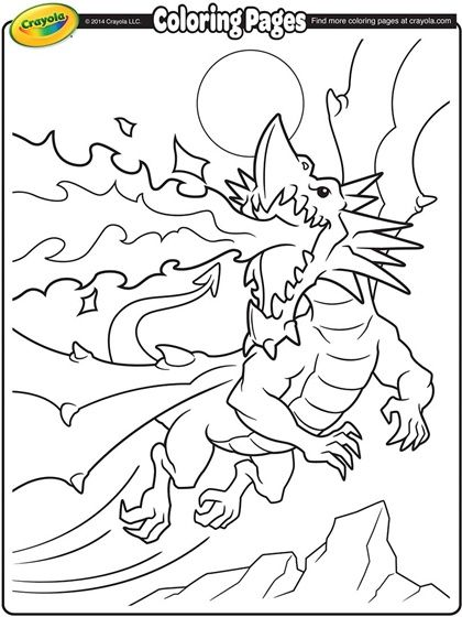 Get creative and give this fire-breathing dragon some color! Free - new giant coloring pages crayola