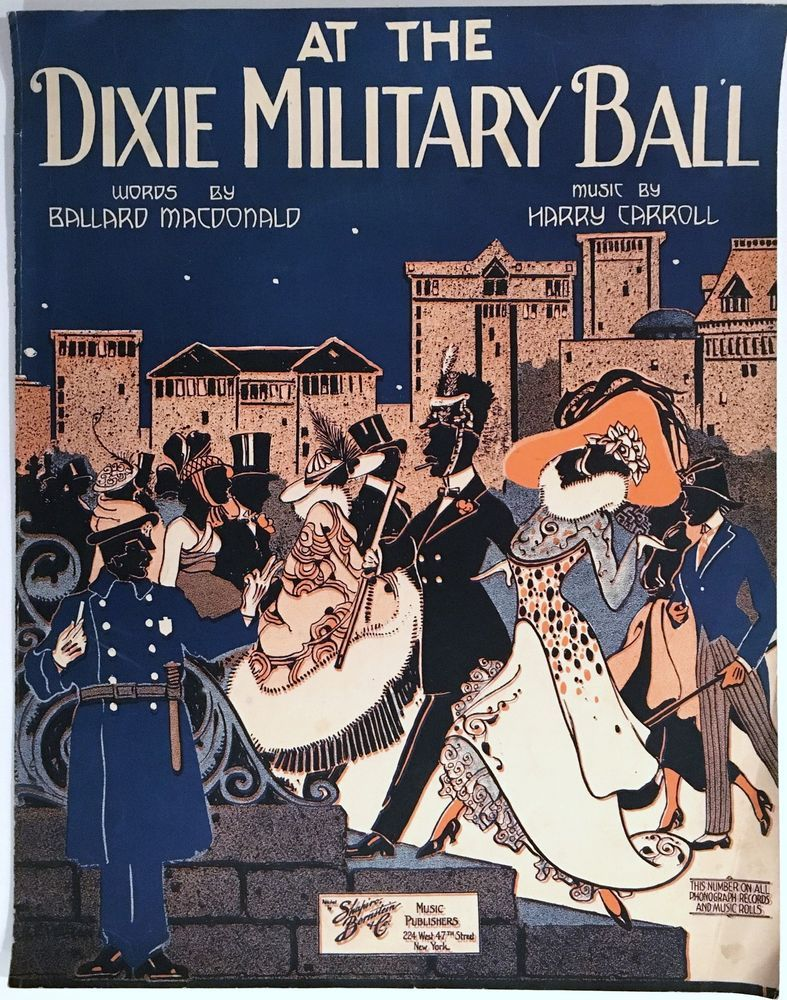"""1918 WWI SHEET MUSIC """"AT THE DIXIE MILITARY BALL"""" BLACK AMERICANA LARGE FORMAT"""