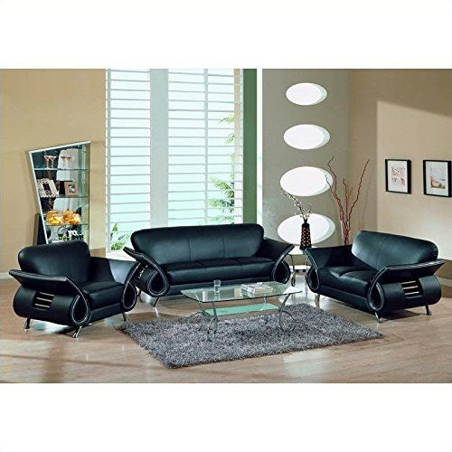 Global Furniture Usa Charles 3Piece Leather Sofa Set In Black Fascinating Black Leather Living Room Furniture Design Decoration
