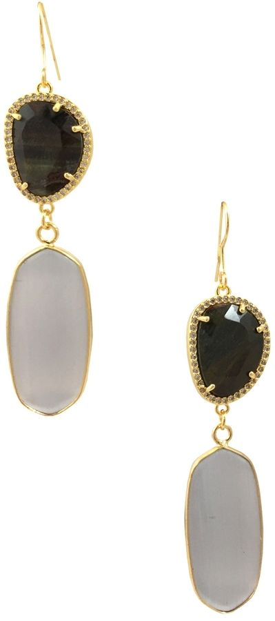 Katherine Karambelas Jewelry Women's Grace Labradorite & Cat's Eye Stone Earrings