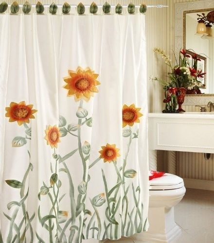 3 D Sunflower Fabric Shower Curtain With Liner And Hooks Set Green