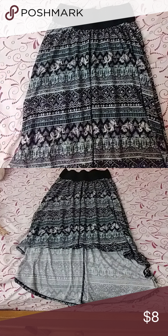 Skirt High low elephant print skirt. Worn once but very cute. Skirts High Low