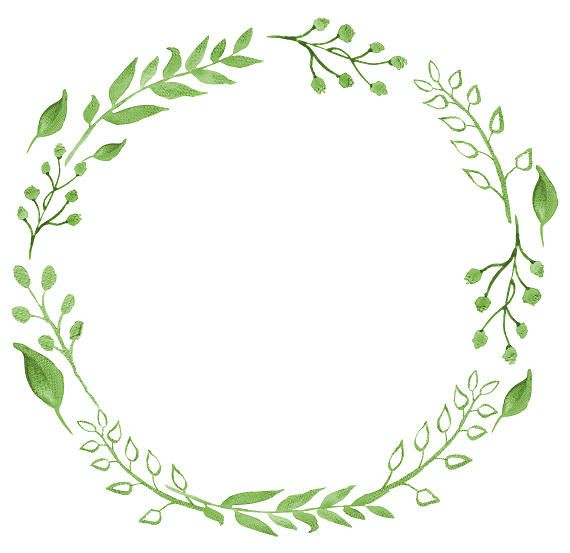 Greenery Clipart Watercolor Wreath Watercolor Clipart Minimalist