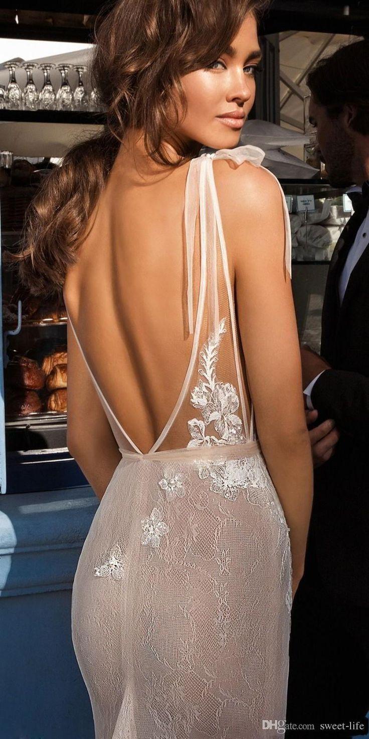 Sexy Meerjungfrau-Brautkleider 2018 mit tiefem V-Ausschnitt, rückenfreies Brautkleid Volle Spitze Appliqued Illusion Angepasst Vestido De Noiva #spitzeapplique