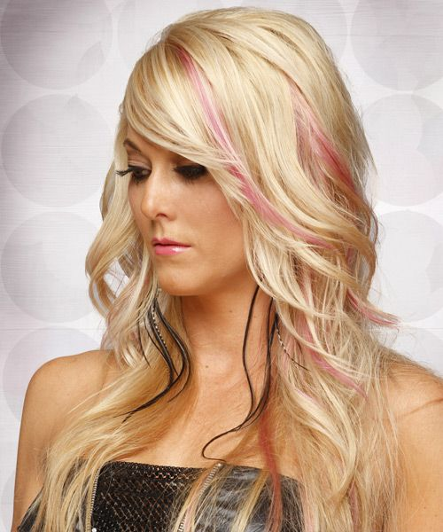 Long Straight Light Champagne Blonde Hairstyle With Side Swept