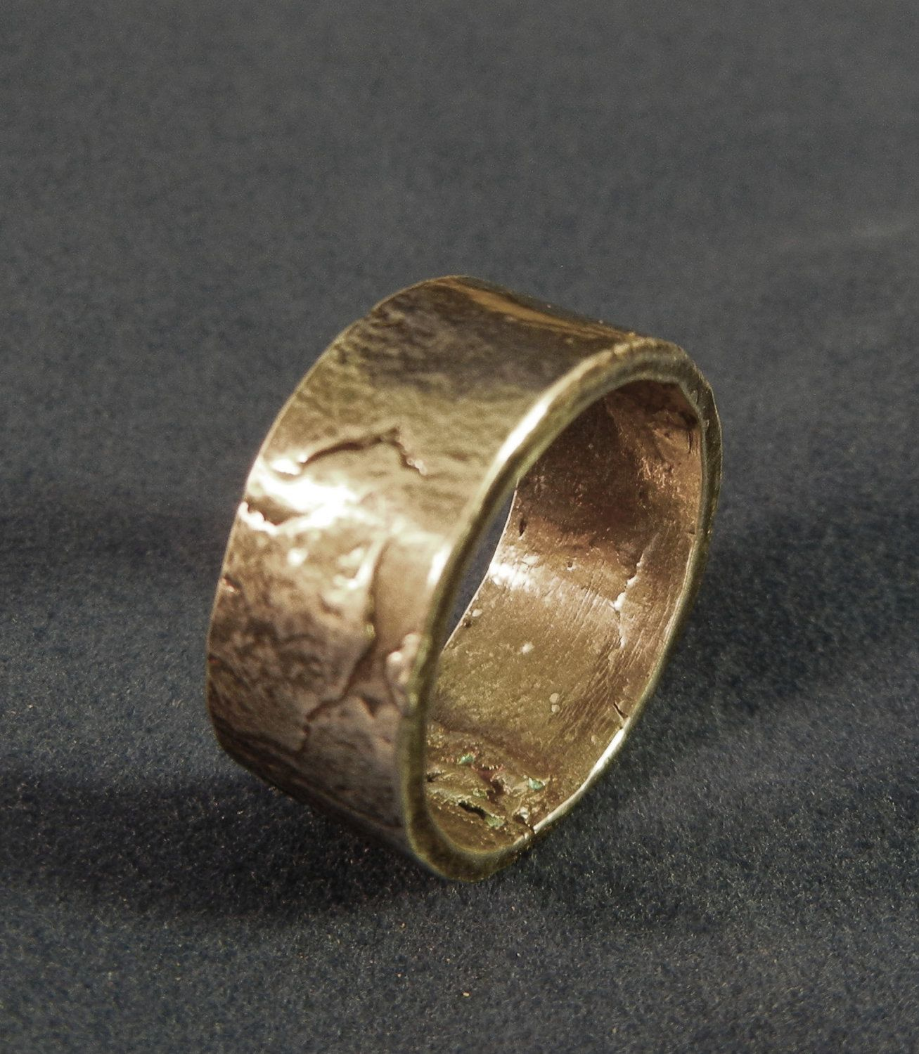 mens fine silver rustic wedding band or womans fine silver band thumb ring or pinky - Rustic Wedding Rings