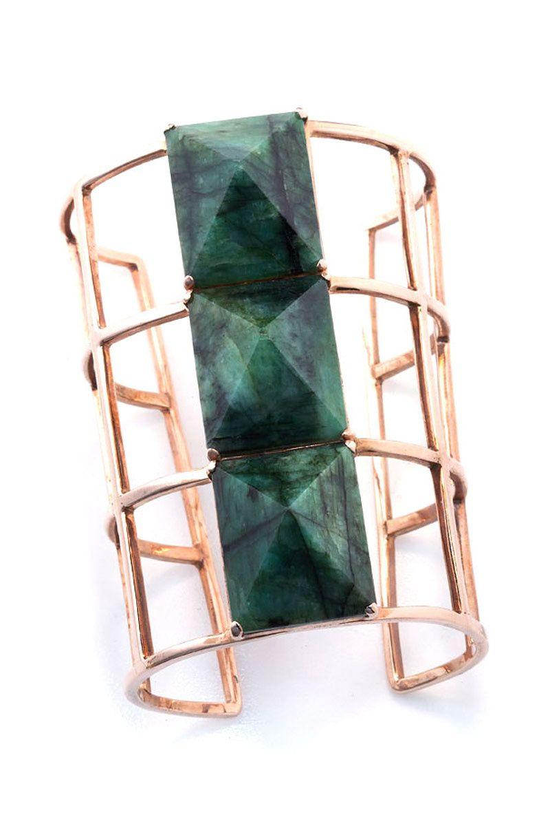 Ana Khouri. Geometry class, Rose gold bracelet with semiprecious stones sized pyramidal,