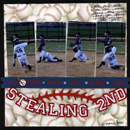 Stealing 2nd Layout Sports Scrapbook Supplies At Scrappin Sports Stuff Kids Scrapbook Baseball Scrapbook Scrapbooking Sports