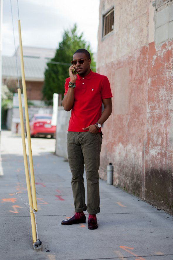 Men's Red Polo, White Chinos, Black Canvas Boat Shoes, Black and ...
