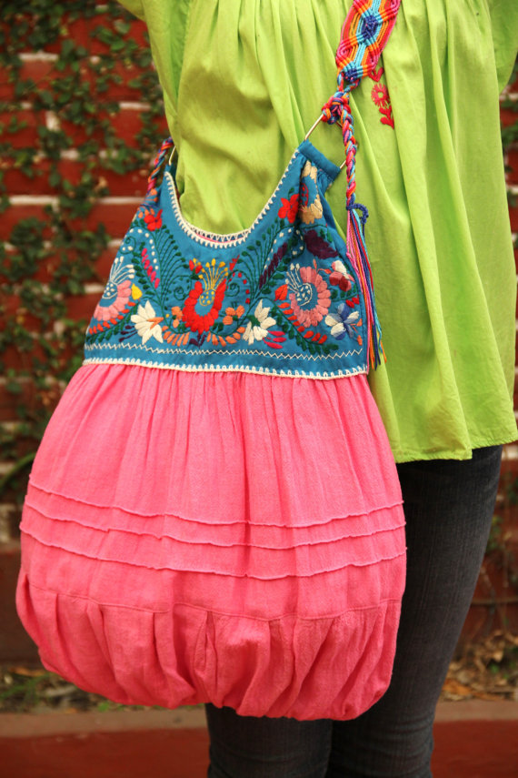 Pink and blue colored hand Embroidered Huipil Boho by CasaOtomi ...
