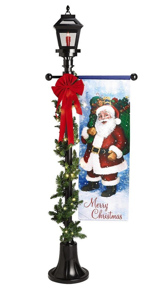 new 6 lighted christmas lamp post flame banner garland and bow collapsible