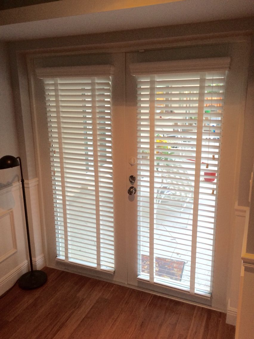 Horizontal White Wood Blinds With Decorative Tape Valance Returns And Hold Downs On French Do Blinds For French Doors White Wood Blinds French Door Coverings