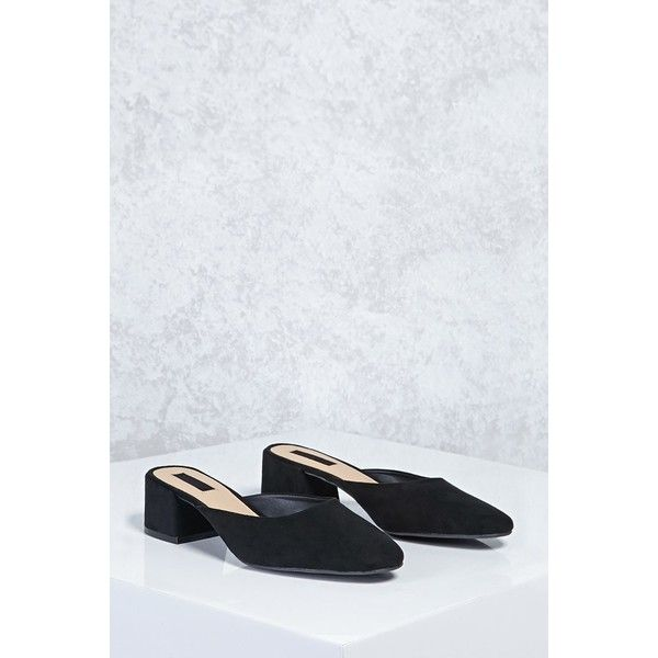 03080ae9e75 Forever21 Faux Suede Mules ( 12) ❤ liked on Polyvore featuring shoes