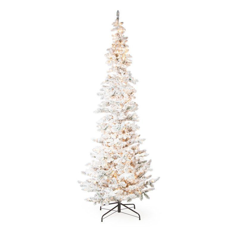 narrow flocked austin pine pre lit slim christmas tree 5850