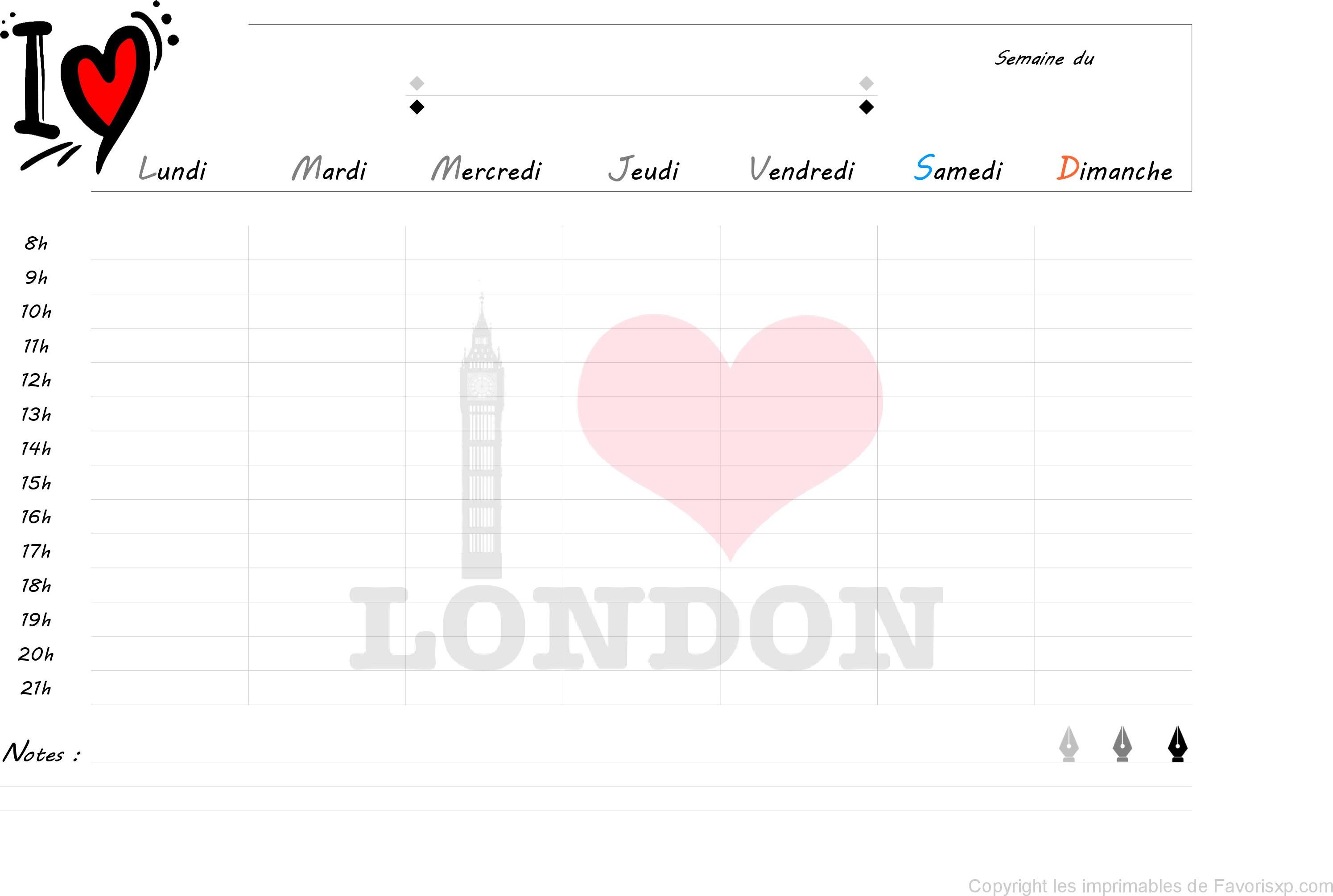semainier imprimer planning de semaine avec heures i love london organisation semaine. Black Bedroom Furniture Sets. Home Design Ideas