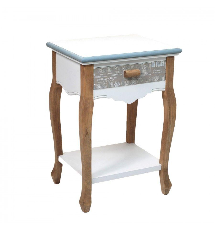 Mesa de noche marinera madera blanco azul 1 caj n na tica for Mesas de noche de madera