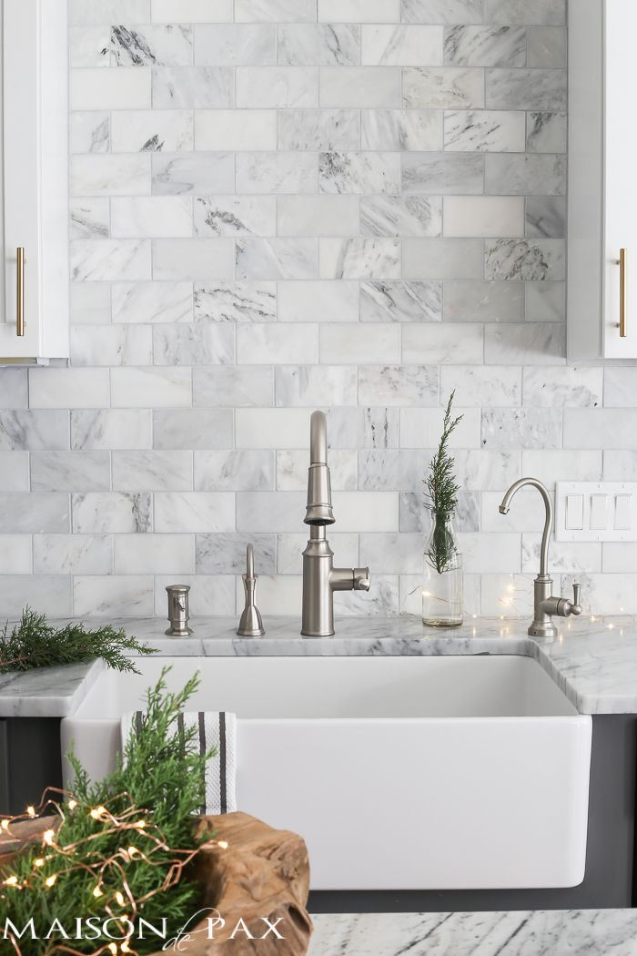 Gorgeous Two Tone Kitchen Design With White Upper Cabinets Gray Lower Carrara Marble Counterarble Subway Tile Backsplash A Farm Sink