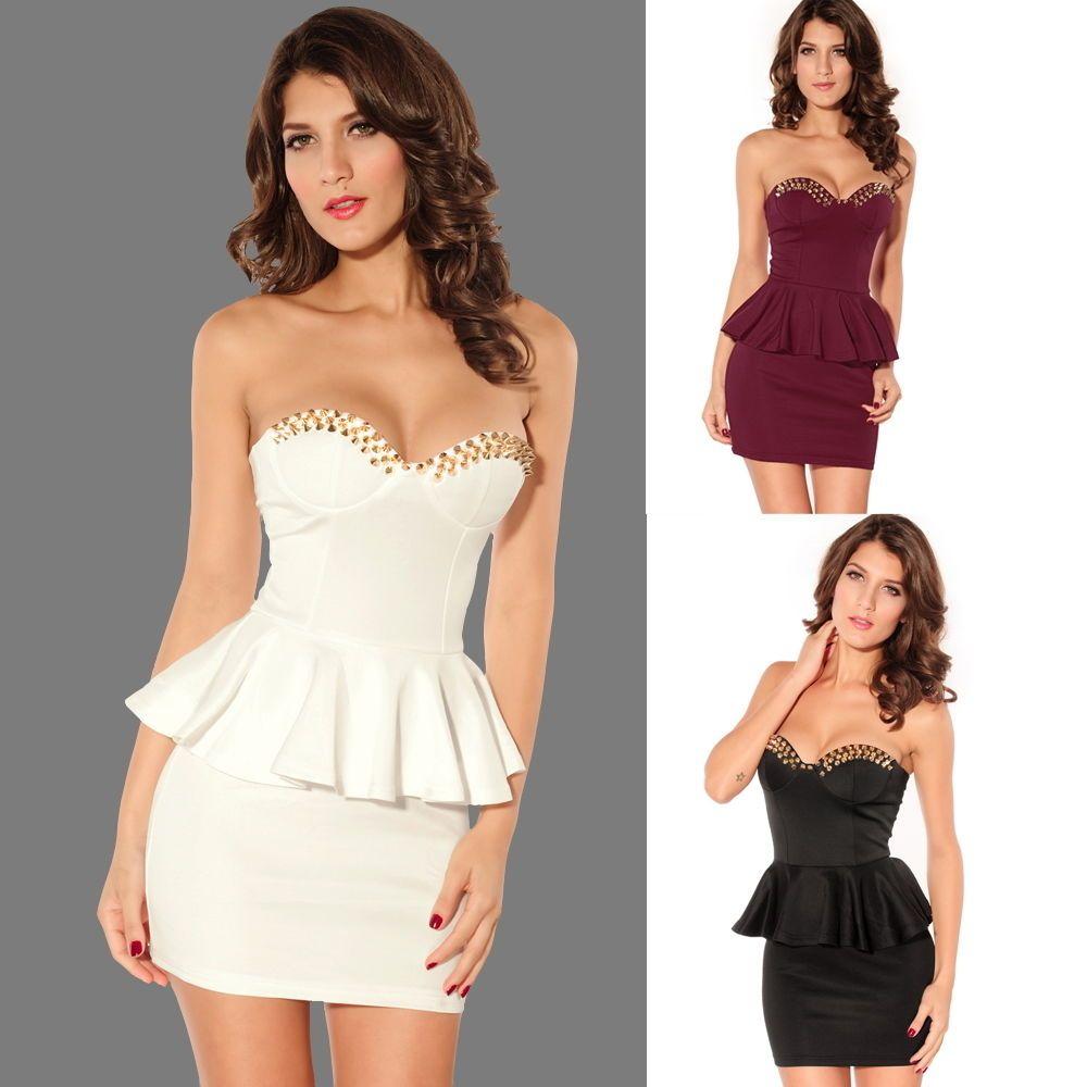Evening Cocktail Party Strapless Short Mini Dresses Black White Club ...