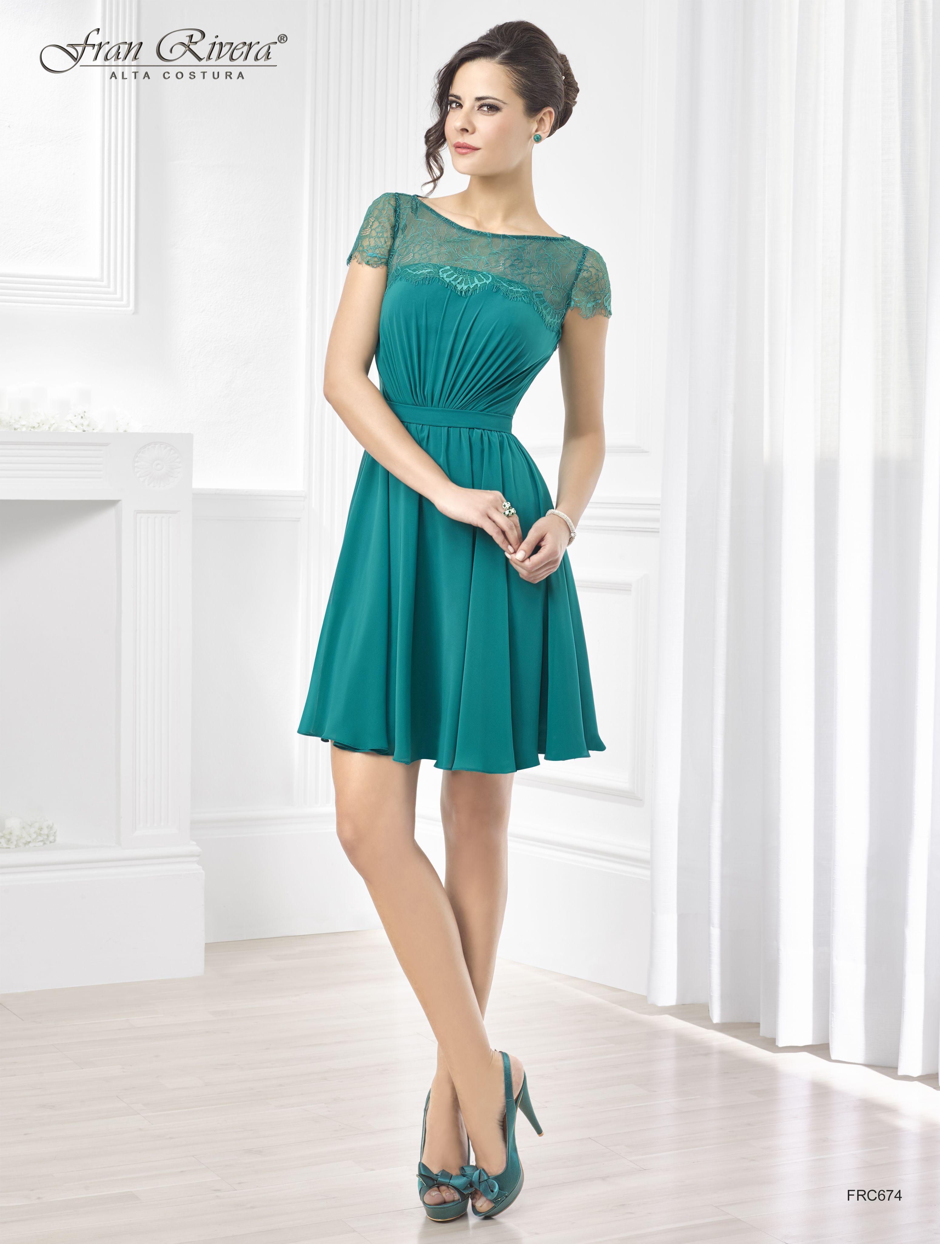 Vestido corto de fiesta verde con manga corta y encaje | Fran Rivera ...