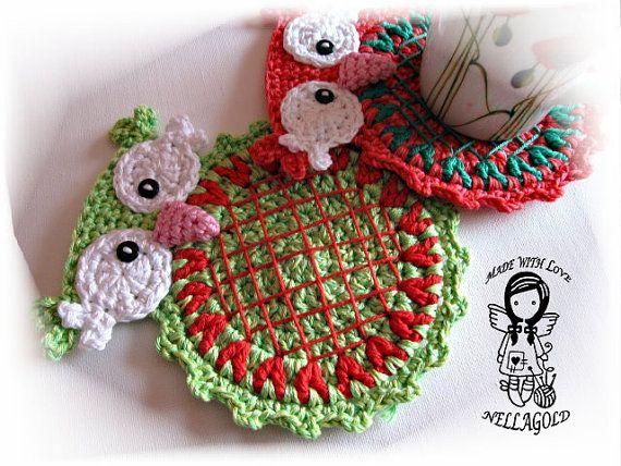 Crochet PATTERN, Mat Christmas Owl, Place mat, Decoration, Home ...