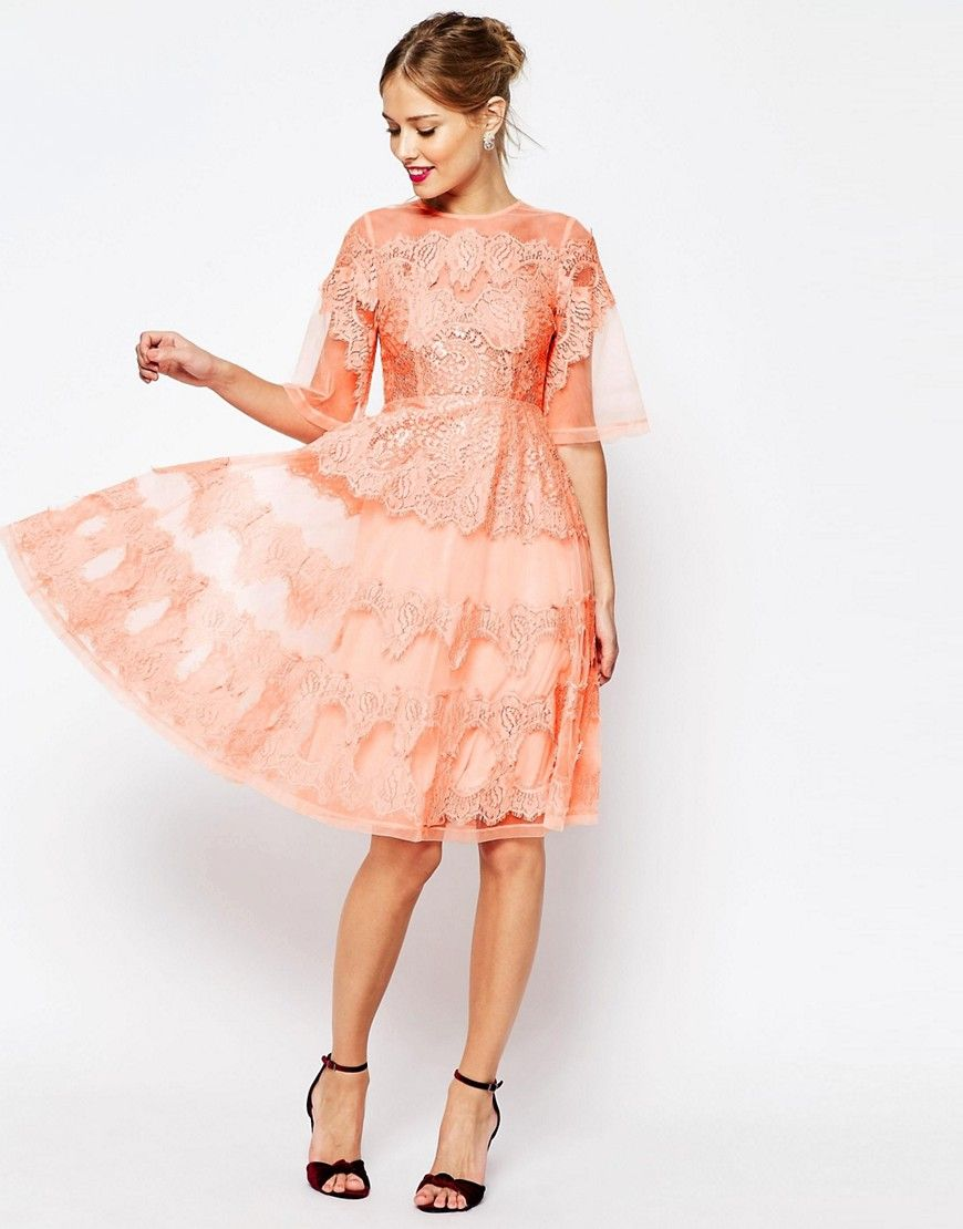 Image 4 ofASOS SALON Lace And Organza Midi Dress