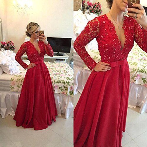 29ccb047982 MEILISAY Meilishuo Womens Deep V-Neck Beaded Prom Dress Lace Evening Formal  Dress With Long Sleeves