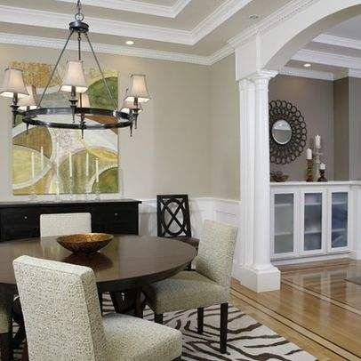 Beige Walls And White Trim Love The Floor Wainscoting Ceiling Chandelier