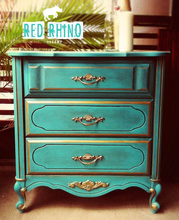 Vintage Bedroom Design Ideas Turquoise Bedroom Paint Ideas Bedroom Decor Items Bedroom Ideas Mink: Regal Teal & Gold French Provincial Dresser By RedRhinoRevamp, $100.00