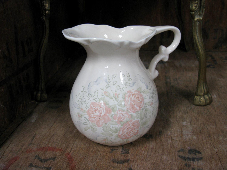 Bedroom Pitcher Bathroom Pitcher Floral Pitcher Porcelain Pitcher