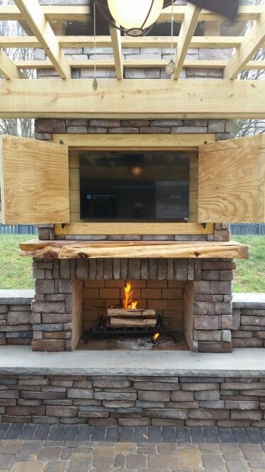 Outdoor Fireplace With Tv Charlotte Nc Outdoor Living Area