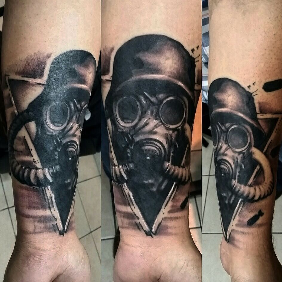 44 best gas mask tattoos collection - Gas Mask Of Death Tattoo By Jakedoestattoos Royalfleshtattoo