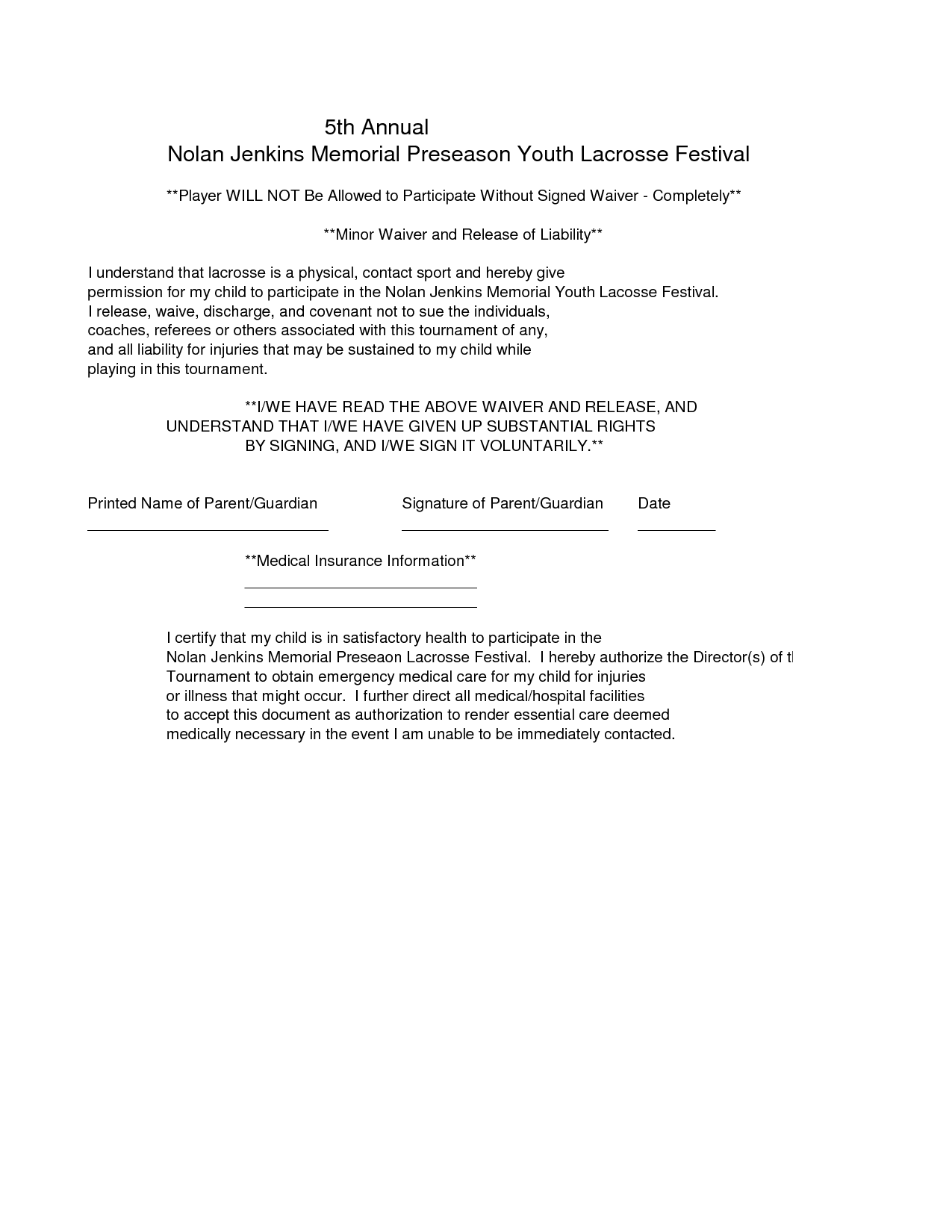 Waiver Of Liability Sample Swifterco liability waiver – Waiver of Liability Form Free